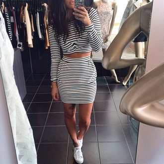 top dress skirt stripes black and white white black two-piece long sleeves short short skirt cropped crop tops shoes white shoes sneakers adidas cute girl girly ootd outfit style striped skirt crop hot outfit black and white stripped skirt black and white stripped long sleeved crop top