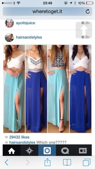 crop tops top skirt bralette white blue skirt maxi skirt