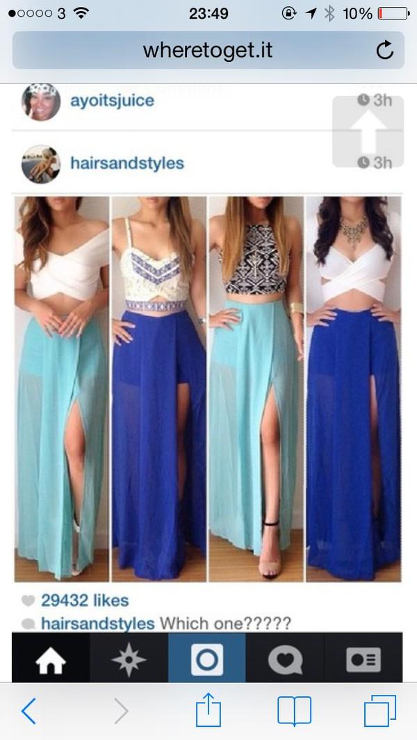 top white blue skirt bralette crop tops maxi skirt skirt