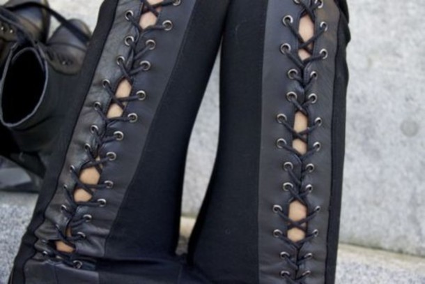pants leather pants leather lace up laced black leggings