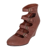 wedges,buckles,straps,brown shoes,shoes