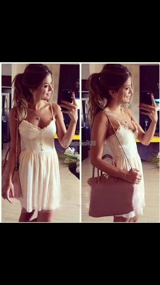 dress lace white dress above knee-mini chiffon skirt summer dress beach dress spagetti straps off-white trendy bustier dress