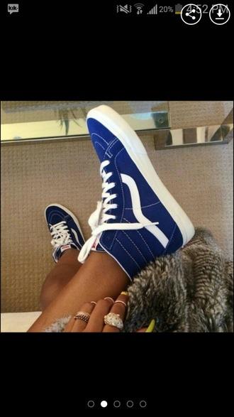 shoes vans sk8-hi blue vans sneakers