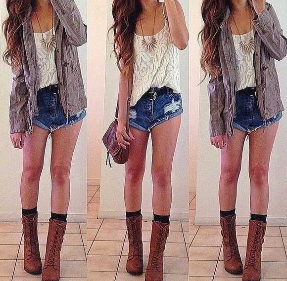 jewels shorts shoes shirt necklaces combat boots lace blouses cardigan pretty little liars clothes tumblr girl jacket bag