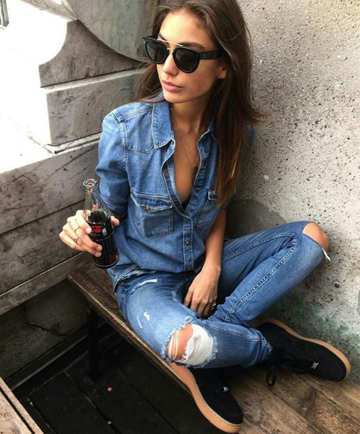 jumpsuit on point clothing denim jeans shirt denim shirt girl cool perfect edgy style fashion fall outfits urban cute shoes