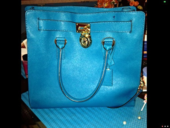 satchel bag michael kors hamilton summer blue tote bag lock gold lock