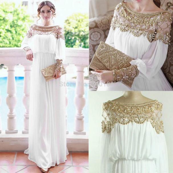 268b376ce0 dress white gold kaftan dubai long dress dresee maxi dress white dress white  long dress