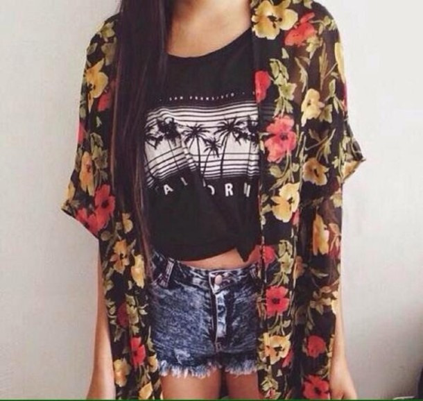 t-shirt cardigan floral cardigan denim shorts top shirt flowers flowers yellow tees shop clothes black and white colorful short jeans bright dark rapped up shorts kimono floral jacket black hibiscus summer spring sun hippie blouse
