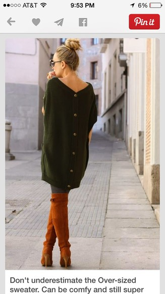 green sweater forest green button down sweater oversized sweater brown leather boots