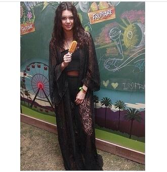 top style kendall jenner fashion cardigan coachella hippie lace black dress