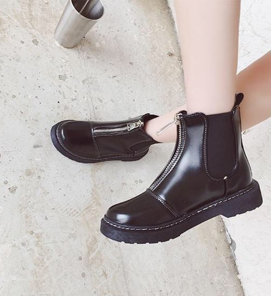 shoes girly black booties ankle boots leather zip