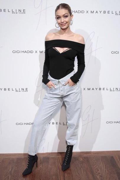 blouse top model off the shoulder off the shoulder top gigi hadid jeans fall outfits boots