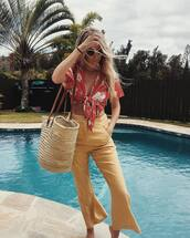 pants,tumblr,yellow pants,top,floral top,yellow,flare pants,bag,beach bag,straw bag,floral,crop tops,spring outfits,sunglasses