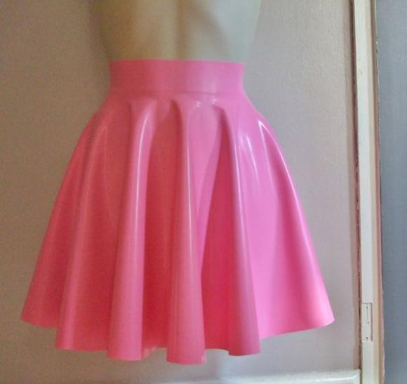 skirt skater skirt pink skirt latex rubber skater skirt , crop top