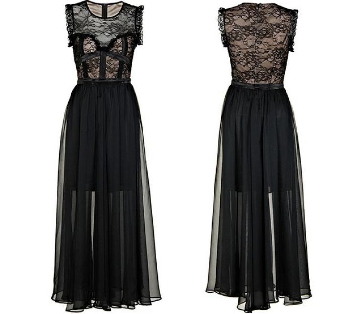 Stitching Lace Flouncing Maxi dress