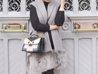 coat faux fur vest fur vest fur coat fashion ascia_akf #snakeskin #pants #trousers grey coat style vest faux fur jacket