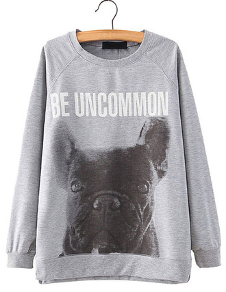 sweater brenda shop sweatshirt pullover grey grey sweater dog letter t-shirts cool