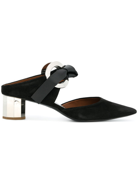 women mules leather suede black shoes