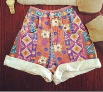 shorts printed shorts pretty stylish women multicolor flowers festival summer holidays