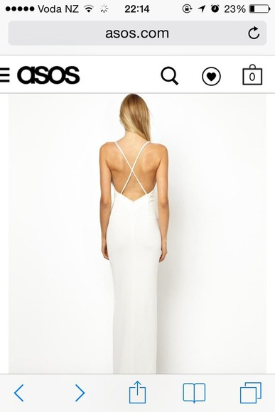 dress white low back thinstrap spaghetti strap crisscross