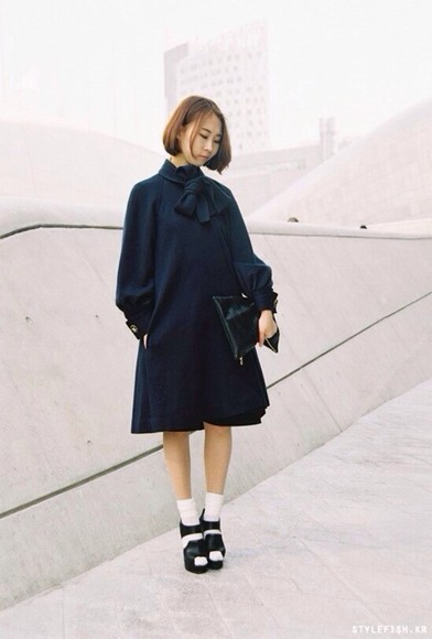 coat black black coat dark blue elegant bows bow coat