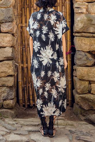cardigan kimono summer beach cool pattern sheer black and white dezzal