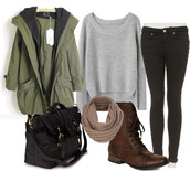 sweater,clothes,jacket,shoes,bag,scarf,jeans,brown leather boots,belt,coat,brown,minnetonka,moccasins,cute,casual sweater,cute shoes,pretty flats,brown shoes,black jeans,cute top,cute bags,floral bag,skinny jeans,Stylish outfit,casual,winter outfits,grey sweater,shirt,green,forest,hip,hipster,fall outfits,lazy day,dark jeans,artsy,laid back,backpack,leather,canvas backpack,flowers,outfit,top,black and white sweater,skirt,green jacket,button up