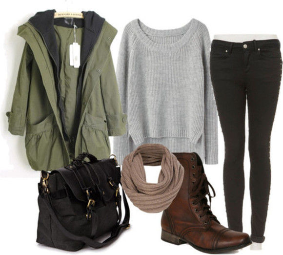 sweater clothes jacket shoes bag scarf jeans brown leather boots Belt hipster green forest hip fall outfits fall outfits