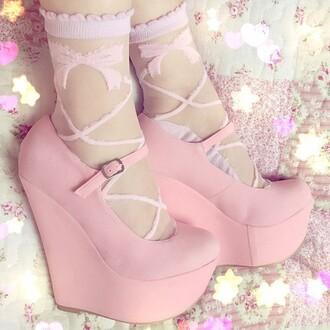 socks lolita pink ribbon transparent shoes