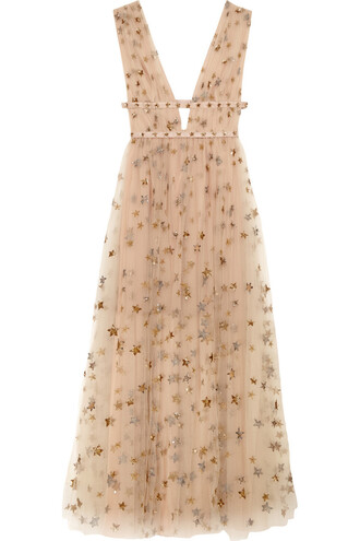 gown embellished neutral dress