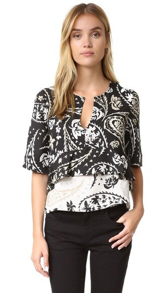 blouse black paisley top