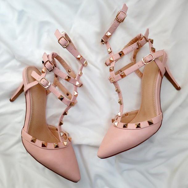 shoes studded studded heels heels kitten heel studs blush pink rose gojane 88179452a8f5
