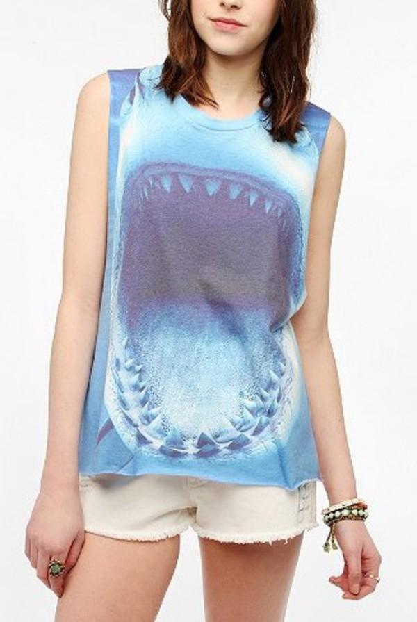 shark tank shark tank top shark top animal face print