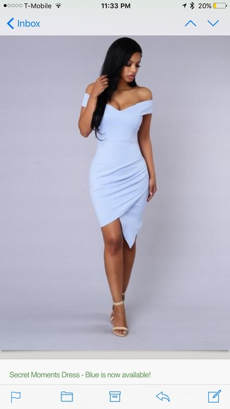 dress dusty blue dress blue dress off the shoulder dress bodycon dress