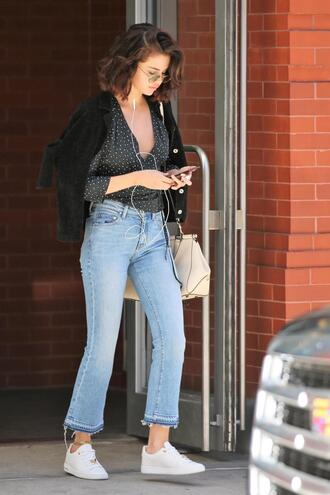 blouse jeans denim top sneakers selena gomez streetstyle plunge v neck fall outfits round sunglasses sunglasses