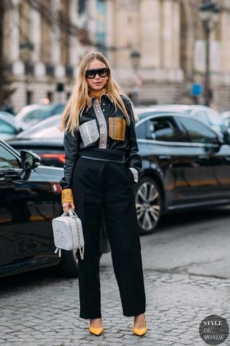 bag chanel bag white bag pants black pants shirt black shirt sunglasses boots shoes streetstyle