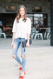 shoes,sandals,high heel sandals,aquazzura,Aquazzura sandals,red sandals,red high heel sandals,jeans,blue jeans,ripped jeans,white blouse,blouse,peplum top,bag,black bag,spring outfits