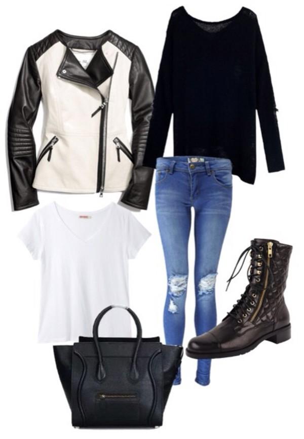 jeans distressed denim shirt bag shoes jacket coat denim with holes at knees pop of junk
