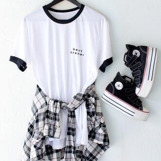 t-shirt nyct clothing graphic tee ringer tee heart breaker plaid shirt plaid platform shoes