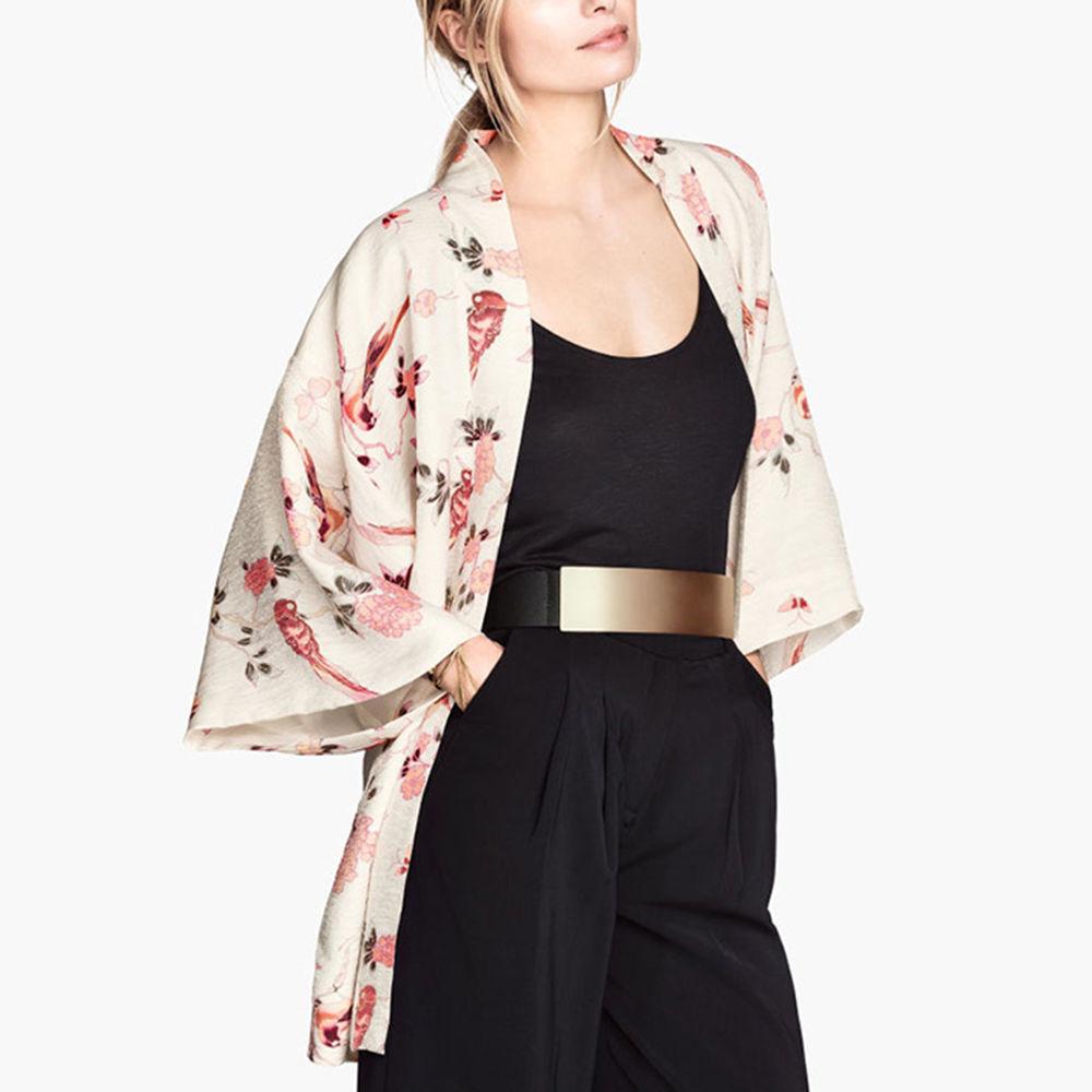 Womens Retro Boho Floral Print Loose Kimono Cardigan Jacket Blouse ...