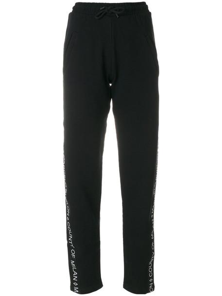 Marcelo Burlon County Of Milan - side-logo track trousers - women - Cotton - XXS, Black, Cotton
