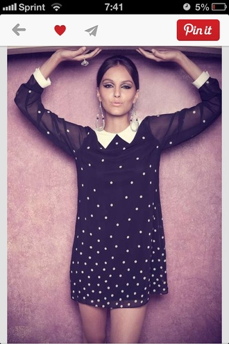 polka dots dress collared dress