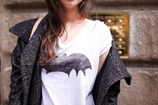 shirt batman white black b&w