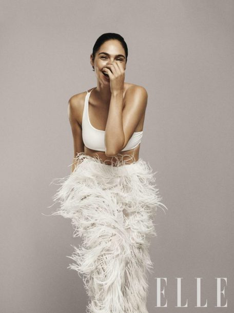 skirt top crop tops white feathers gal gadot editorial bralette