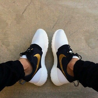 shoes nike running shoes white black gold women mens shoes