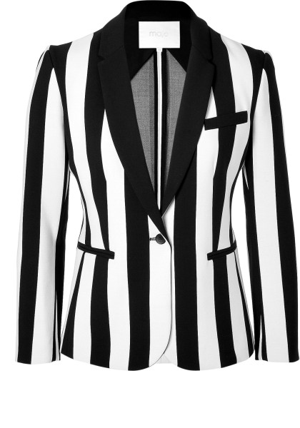 Maje Striped Blazer in Blackwhite in Black | Lyst