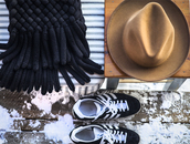 a portable package,blogger,hat,adidas shoes,knitted scarf,scarf,shoes