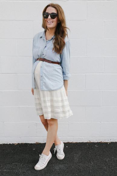 shoes converse the day book dress Belt top pregnancy denim shirt