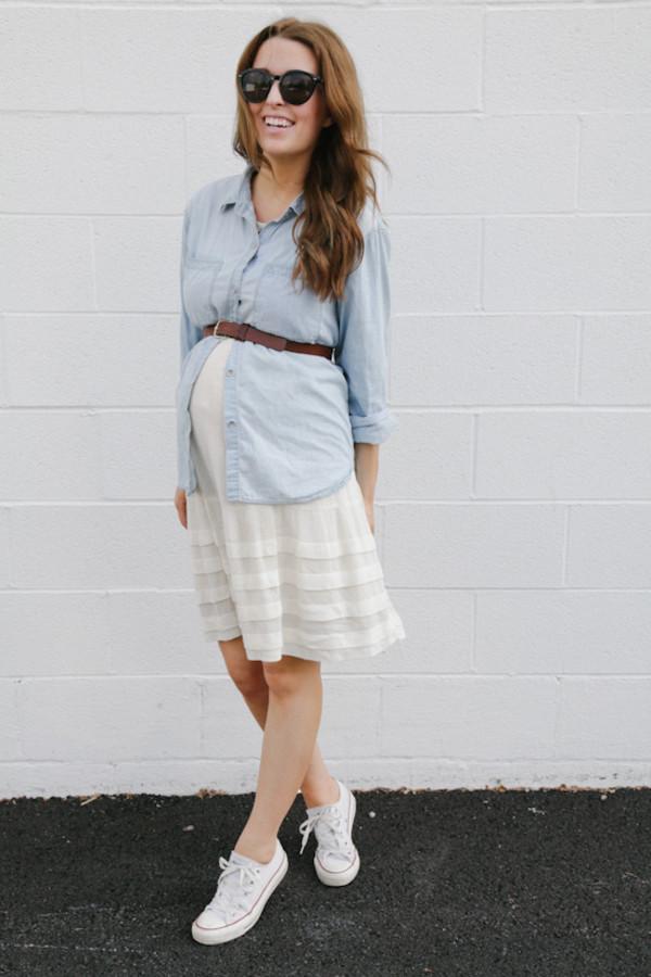 the day book shoes dress belt top maternity denim shirt converse
