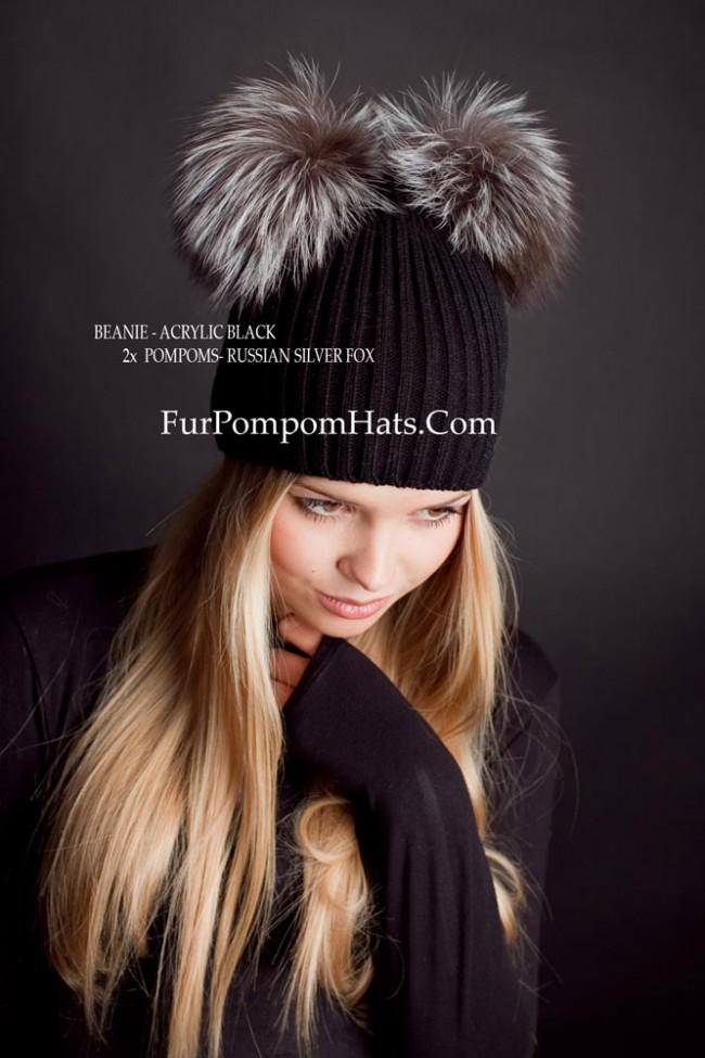 Two fur pompoms beanie - 2 Silver fox bobbles hat - furpompomhats